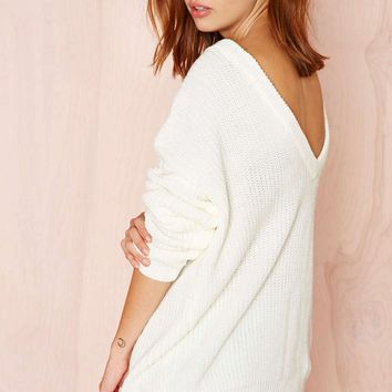 Backless Casual  Loose Sweater