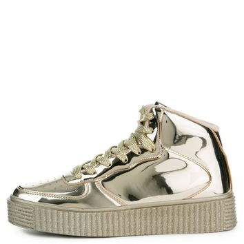 Cape Robbin Polo-5 Women's Gold Sneakers