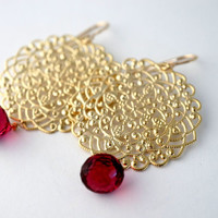 Gold Lace Filigree Dangle Earrings with Raspberry Quartz Drop, FIligree Earrings, Lace Earrings, Drop Earrings, Filigree Earrings