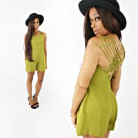 vintage 80s 90s LIME green strappy CAGED back CUTOUT short romper size xs/s