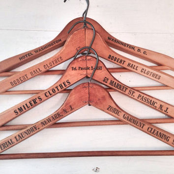 Set of Vintage Wooden Hangers with Advertising / Antique Wooden Tailor & Hotel Hangers