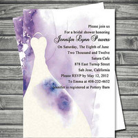 Modern purple and white wedding dress bridal shower – custom and unique wedding bridal shower invitations EWBS013