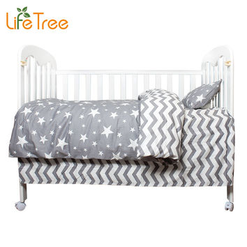 LifeTree 3 Pcs Cotton Crib Bed Linen Kit Cartoon Baby Bedding Set Includes Pillowcase Bed Sheet Duvet Cover Without Filler