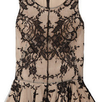Alexander McQueen | Lace and silk peplum top | NET-A-PORTER.COM