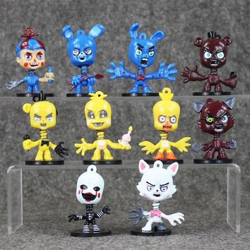10Pcs/Set 2.5 Inch  At  Bobblehead keychain Ring Freddy Doll Kids PVC Pendants Action Toy Figures