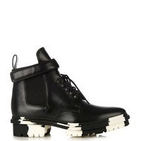 Unit leather biker ankle boot