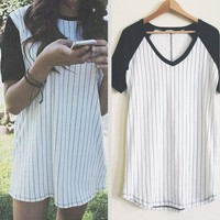 Fashion Striped Short-Sleeved Shirt Blouse Tops