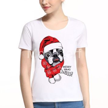 Merry Xmas Y'All French Bulldog T-Shirts - Women's Top Tee