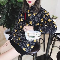 """Moschino"" Women Fashion Letter Bear Cartoon Print Long Sleeve Hooded Sweater Tops"