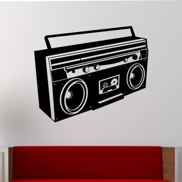 Boombox  Wall Decal Vinyl Sticker Art Decor Bedroom Design Mural interior design music sounds beats old school radio