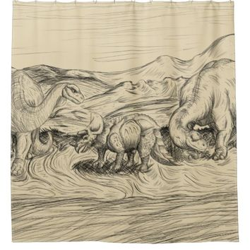 Classic Dinosaurs Shower Curtain