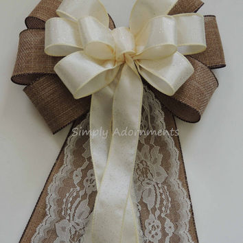 Rustic Country Wedding Aisle Bow Ivory Burlap Lace Wedding Pew Bow Chair Bow Burlap Church Aisle Pew Bow Rustic Wedding Ceremony Decorations