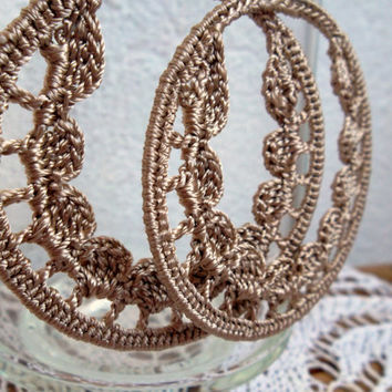 Sparkly Champagne Crochet Earrings With Silk Thread In Metallic Shades, Delicate Lace Large Hoops, Hand Knitted Afro Jewelry,Tribal Earrings