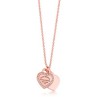 Tiffany & Co. - Return to Tiffany™ mini double heart tag pendant in 18k rose gold with diamonds.
