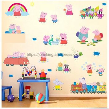 cartoon Height cute pink peppaed Pig family PVC Decals Adhesive Wall Stickers Home Decor kids girl bedroom nursery birthday gift