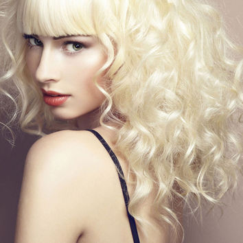 """18"""" Long Curly with Bangs Synthetic Wigs for Women White"""