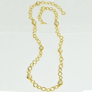 JEANNE LONG PEARL STATION NECKLACE