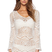 White Cut-outs Knit Long Sleeve Dress