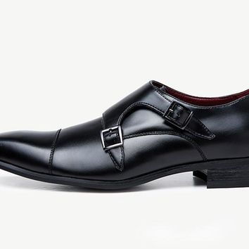Leather Double Monk Strap Brogues Shoes