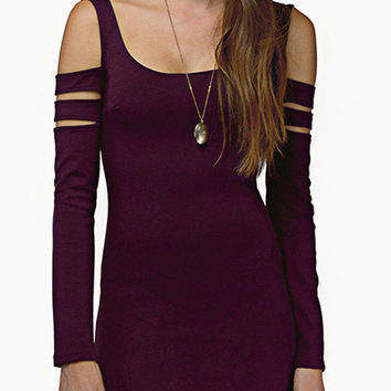 Purple Cold Shoulder Slit Sleeve Bodycon Mini Dress
