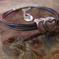 FALL IN LOVE leather wrap bracelet in dark brown by AsaiBolivien