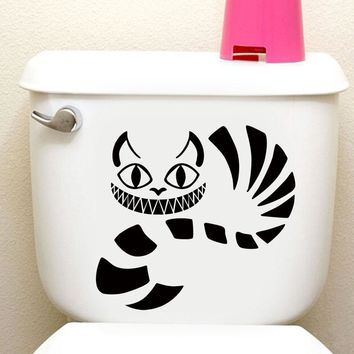Alice In Wonderland Cheshire Cat Vinyl Decal Fashion Cartoon Decorative Toilet Sticker Removable Waterproof Wallpaper Home Decor