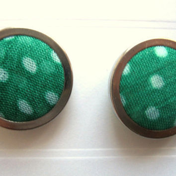 Polka Dot Earring Green Spotty Fabric Large Stud by TheDorothyDays