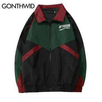 Trendy GONTHWID Vintage Color Block Patchwork Embroidery Full Zip Up Windbreaker Jackets 2018 Spring Autumn Hip Hop Casual Track Coats AT_94_13