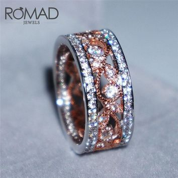 Romad Stainless Steel Titanium Steel Hollow Rings For Women 2018 Rose Gold Color Flower Wedding Engagement Ring Anelli Donna R3