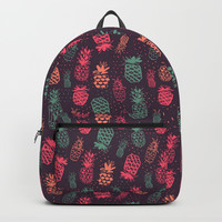 Tropical Pineapple Pattern Backpack by Smyrna