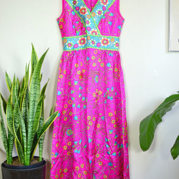 1960s formal retro floral print dress // vintage psychedelic maxi dress // sleeveless satin prom dress // electric pink bright neon