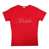 Bride Rhinestone Fitted Cotton T-Shirt, Bride Bling Cotton shirts, Bride Tshirts, Bride to be, Bridesmaid Tank, Bride Gift,