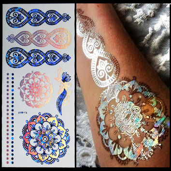 Glitter body art painting flash gold tattoo jewelry nail tools large temporary arabic Indian tattoost stickers sleeve