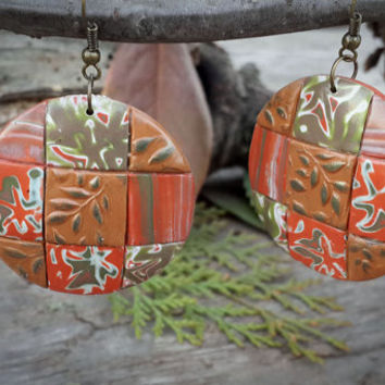 Set jewelry from polymer clay,boho jewelry,handcrafted jewelry,unuque jewelry,mokume gane,patchwork technique, autumn