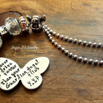 Never Drive Faster Than Your Guardian Angel Flies Butterfly Car Charm, Rearview Mirror Charm, Handstamped Car Charm, Protection Charm