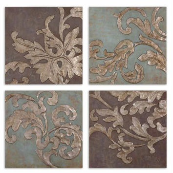 4 Wall Plaques - Damask Theme