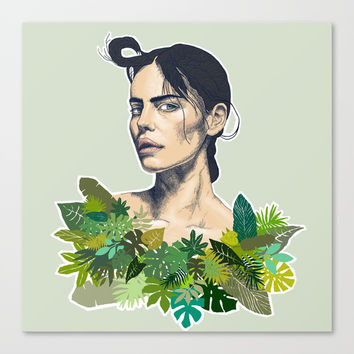 tropical beauty // the girl with the jungle leaf shirt Canvas Print by Camila Quintana S