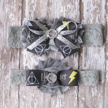 Harry Potter Garter Set | Deathly Hallows Wedding Garters | Bridal Garter and Toss Garter
