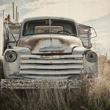 Landscape Photography, Rusty Chevrolet Truck, Rustic Country, Farm Decor, Blue, Brown, Gray, Wall Art, Man Cave, Field  | 'Old Reliable'