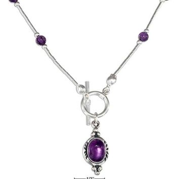"Sterling Silver 16"" Amethyst Beaded Liquid Silver Toggle Necklace"