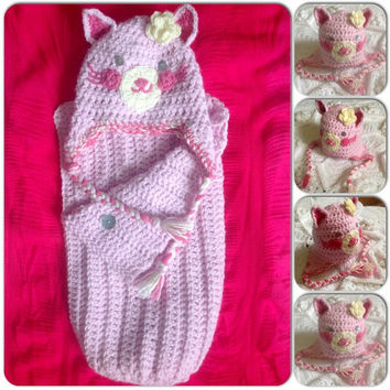 Cat Hat Beanie Cocoon Blanket Wrap Set Kitty w-Flower Hand Crochet Baby Shower Gift w- ear flaps Newborn Infant Photo Prop