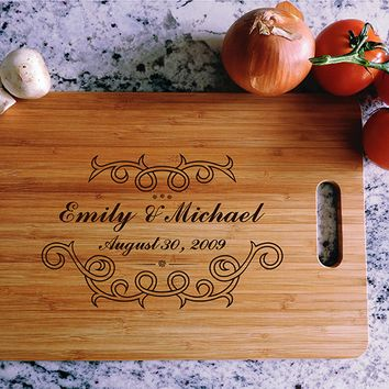 ikb476 Personalized Cutting Board Wood wedding gift anniversary date names wooden wedding