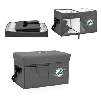 Miami Dolphins Ottoman Cooler & Seat-Grey Digital Print