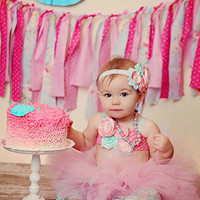 Kinley Tutu, Top & Headband- Pink, Aqua, Birthday, 1st birthday, Girl, Newborn, Infant, cake smash, photo prop