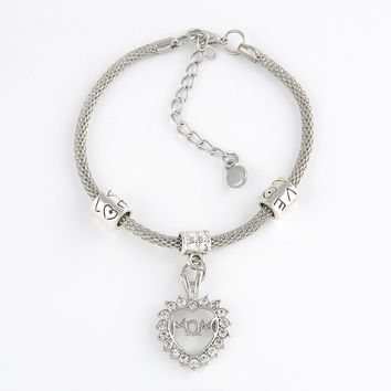 Trendy Silver Rhinestone Hearts Words Charm Bracelet Family Members Lovers Friendship Charms Bracelets Gifts