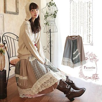 Spring Autumn Mori Girl Vintage Plaid Lace Applique Skirts Women Cute Lolita Style Patchwork All Match Kawaii Dolly Skirt X065