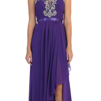 Starbox USA L6078 Studded Waterfall Draped Sweetheart Neck Chiffon Prom Dress Purple