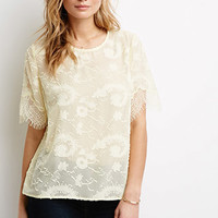 Ornate-Embroidered Chiffon Top