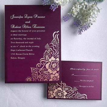 Retro Floral Purple Wedding Invitations suites - custome invites - elegant, purple, damask wedding invitation rustic ideas EWI078