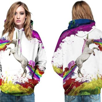 Rainbow Horse Skateboard Hoodies Ladies Autumn Winter Pullover With Pockets Jackets 3D Print Unicorn Hooded Sweatshirt